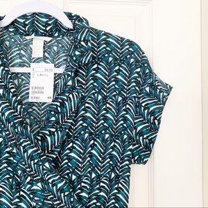 NWT H&M Tropical Palm Print Faux Wrap Mini Dress